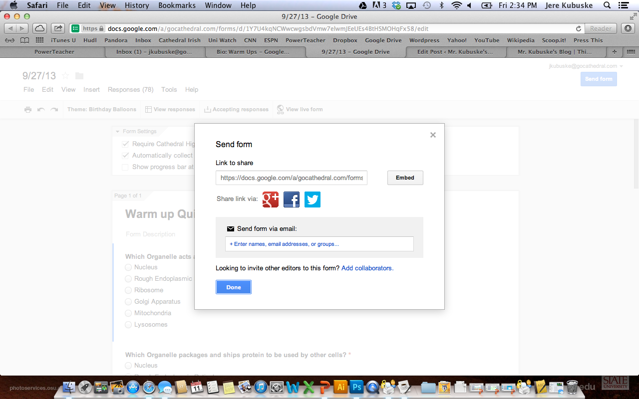 how to see the correct answer on google forms